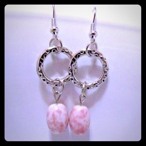 Jewelry - Pink Beaded Silver Plated Earrings New